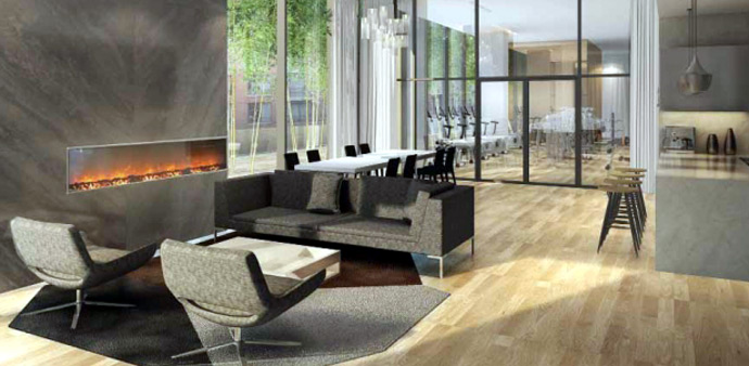 Fireside lounge and bar at the Westbank Telus Garden Vancouver Downtown condo tower.