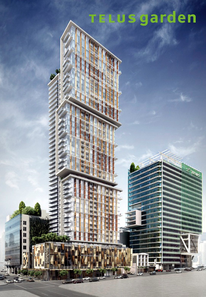 Preconstruction Vancouver TELUS GARDEN condos for sale by Westbank Developers and Henriquez Partners Architecture