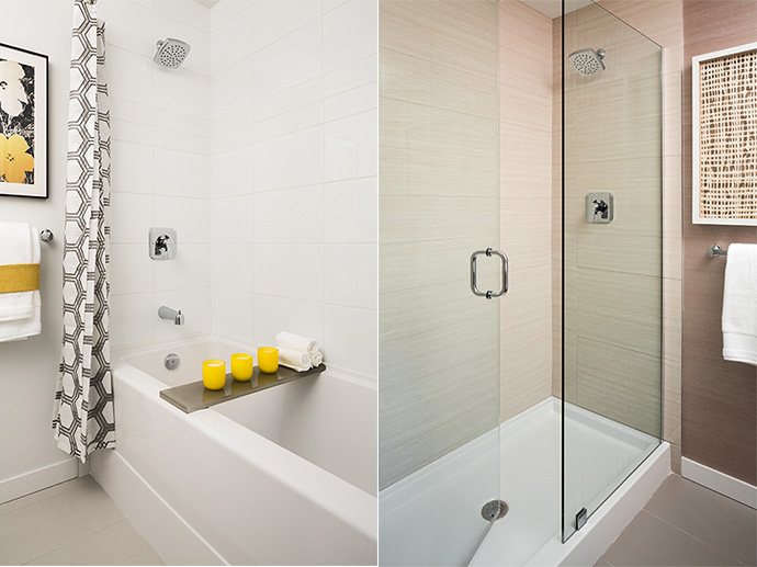 Beautiful high-end bathrooms with great finishes.