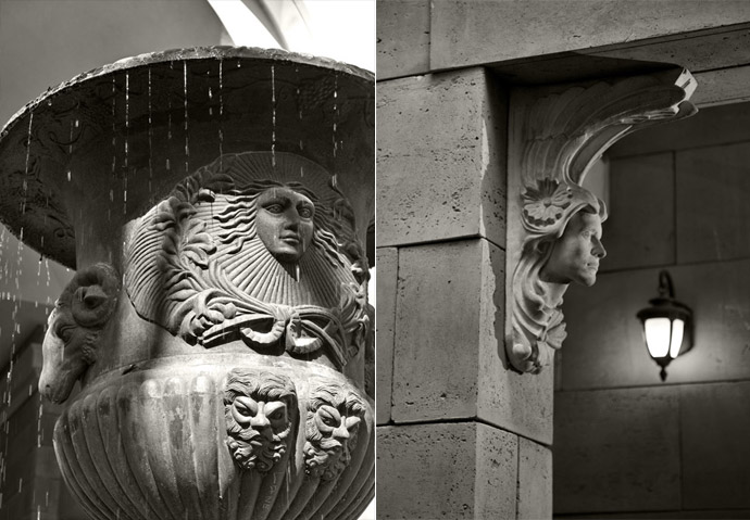 Classical architecture at the boutique Vancouver Thalia residences.
