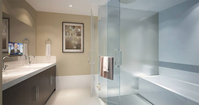 luxurious spa inspired bathrooms featured at the Thalia Vancouver condominium building at 889 Cambie Street.