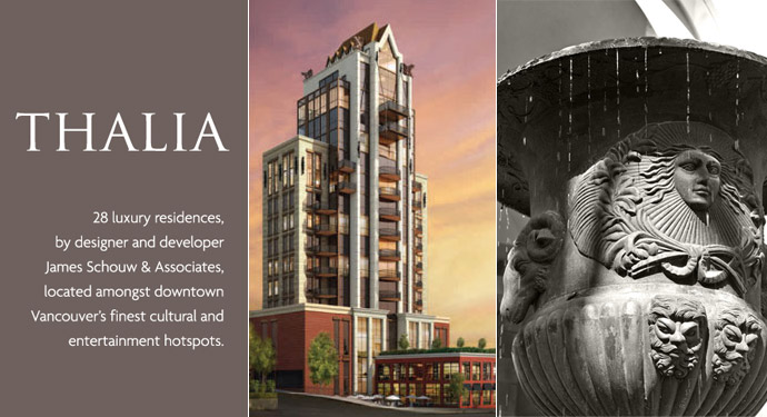 Ultimate luxury Vancouver homes for sale at the Thalia James Schouw Yaletown real estate development.