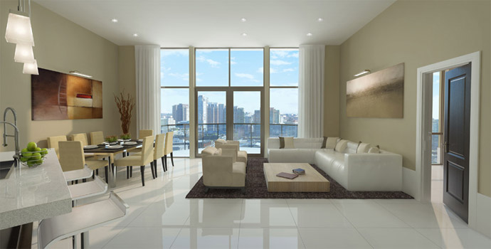 The Thalia Vancouver luxury home living room with 12 foot ceilings and floor to ceiling windows.