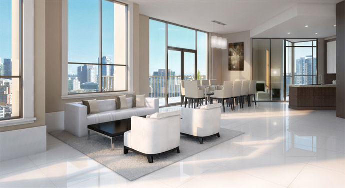 Another view of the living room and kitchen at the Yaletown Thalia Habitable Art Collection of residences.