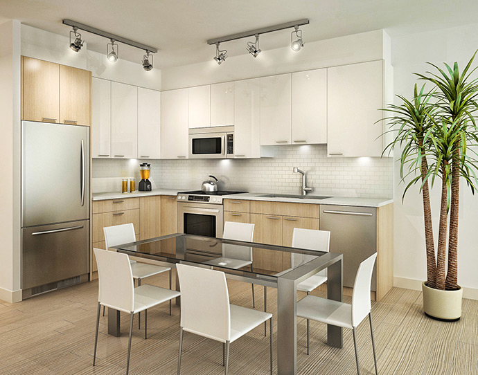 The Ave North Shore condo kitchens.