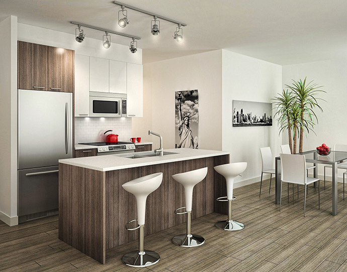 Functional and modern kitchens at the Marine Drive The Ave Condos in North Van.