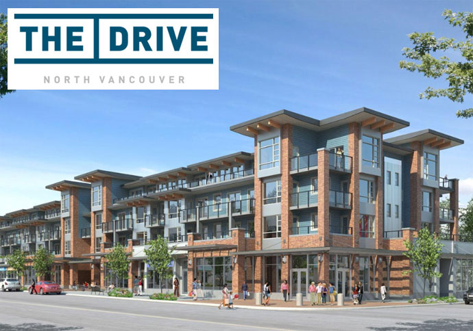 A render of The Drive North Vancouver condo development in the Marine Drive District.