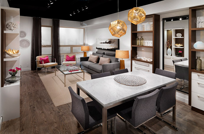 A sample interior living room at The Gardens Richmond condo project by Townline Group of Companies.