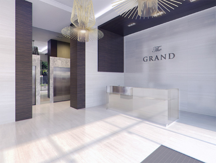 Grand lobby at The Grand Richmond condo tower.