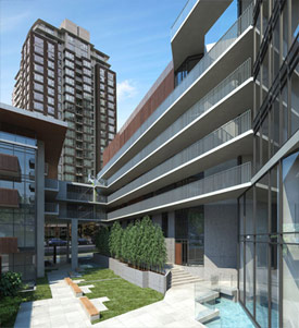 Exterior rendering of the new Yaletown condos for sale November 28th.