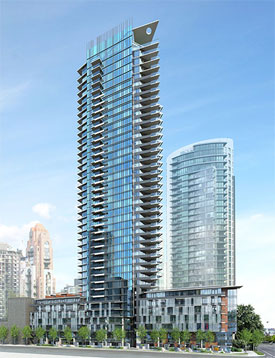 A striking rendering of the luxury Yaletown condos for sale at the downtown Vancouver Mark by Onni.