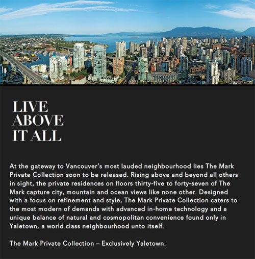 The luxury Yaletown condominiums in the iconic Vancouver high-rise tower at The Mark by Onni.