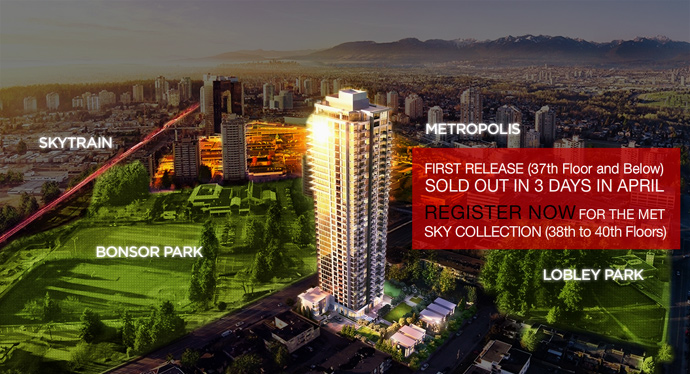 Rendering of the presale Burnaby MET SKY Penthouse and SKY Suite floors.