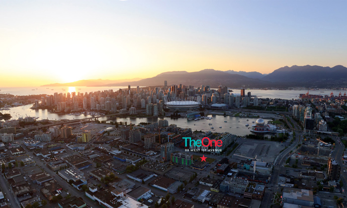 Birds eye view of the spectacular Vancouver Southeast False Creek The One Condo location.