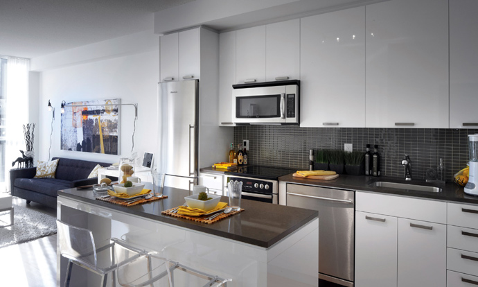 Kitchen rendering at the new Vancouver TheOne Condos.