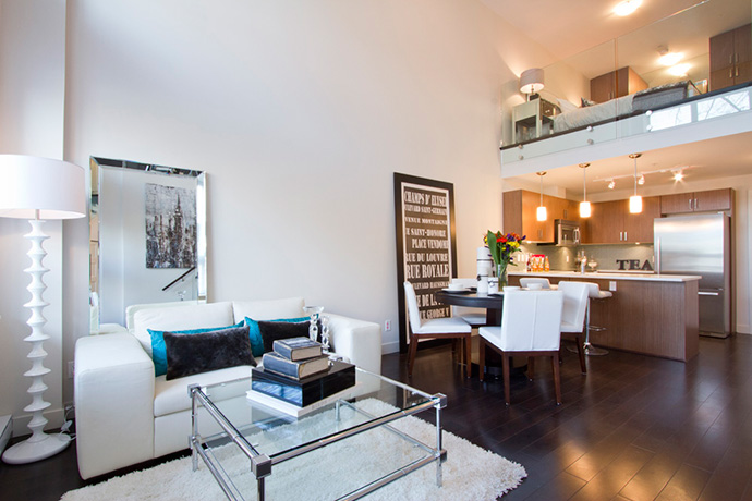 Main Street Vancouver Riley living spaces are open concept and beautifully finished.