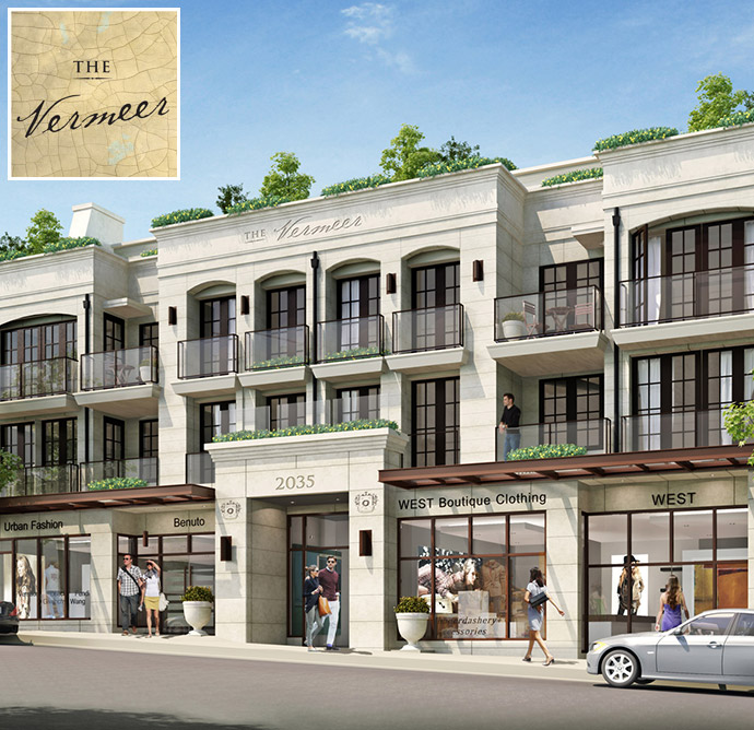 Rendering of The Vermeer Vancouver luxury condos in Kits real estate market.