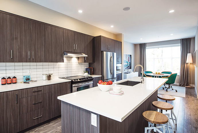 Great kitchen features and finishes at The Woods Surrey townhouse development.