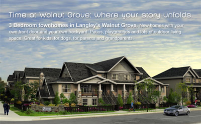 Master planned community of 2 and 3 bedroom Langley townhouses for sale in Walnut Grove neighbourhood are now selling.