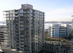 North Shore's Time Building in Lower Lonsdale is a popular condo rental high-rise tower that is close to Lonsdale Quay and the Seabus.  The Time Condos transformed the area into a bustling redeveloped area.