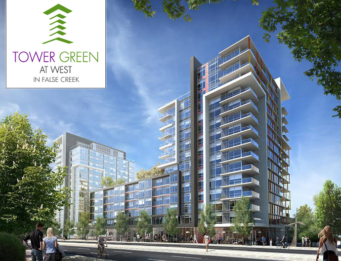 Vancouver Tower Green at West in False Creek is Phase 2 of this master planned community by the Executive Development Group.