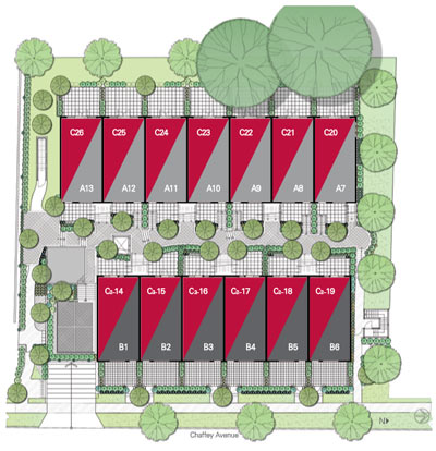 A Site Plan for the new TowneWalk Burnaby townhomes for sale near Metrotown real estate district.