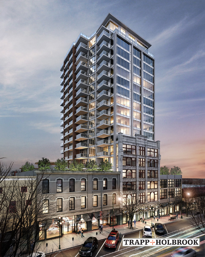 A new rendering of the boutique New West Trapp and Holbrook condo tower on Columbia Street near the waterfront district