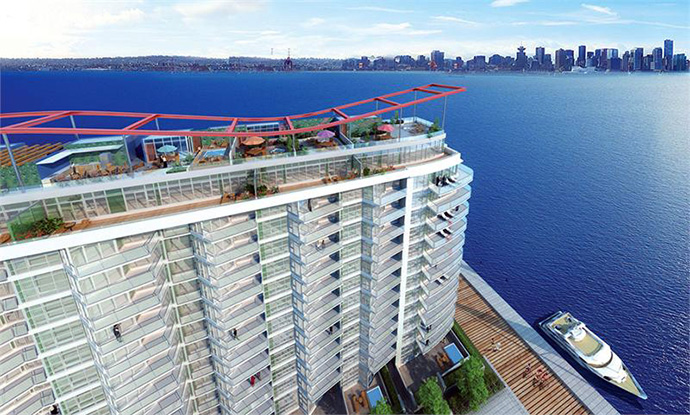 Another rendering of the North Vancouver waterfront condos at Trophy by Pinnacle International Developers.