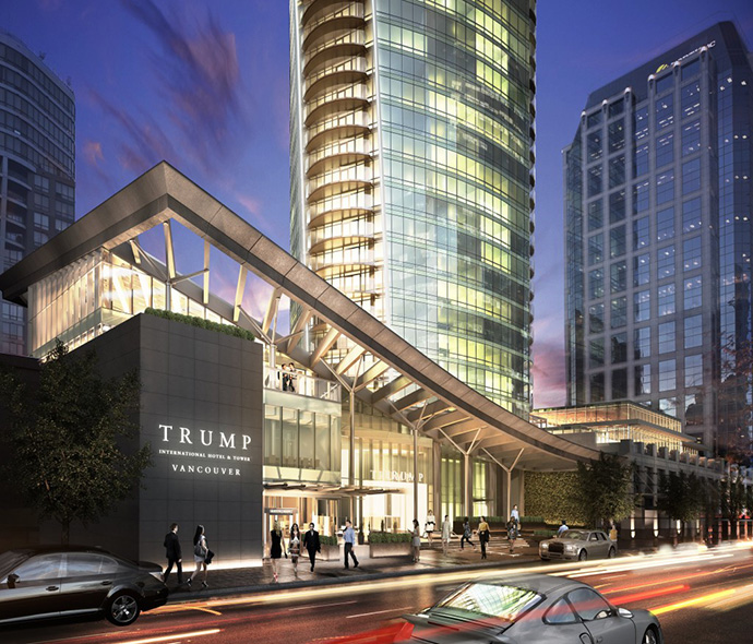 Grand lobby entrance to the Vancouver TRUMP Tower condo high-rise.