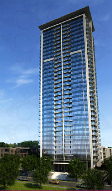 Rendering of the newly launched Ultra at Urban Village condominiums for pre-construction sales.