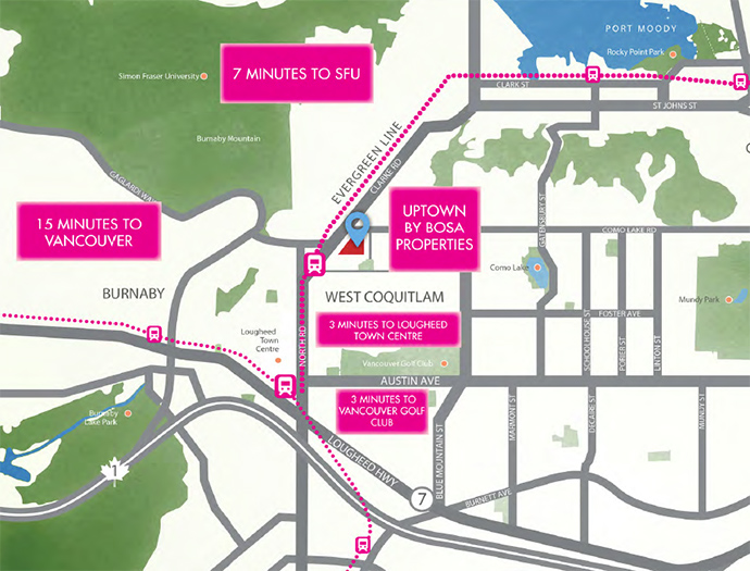 Map of West Coquitlam real estate district.
