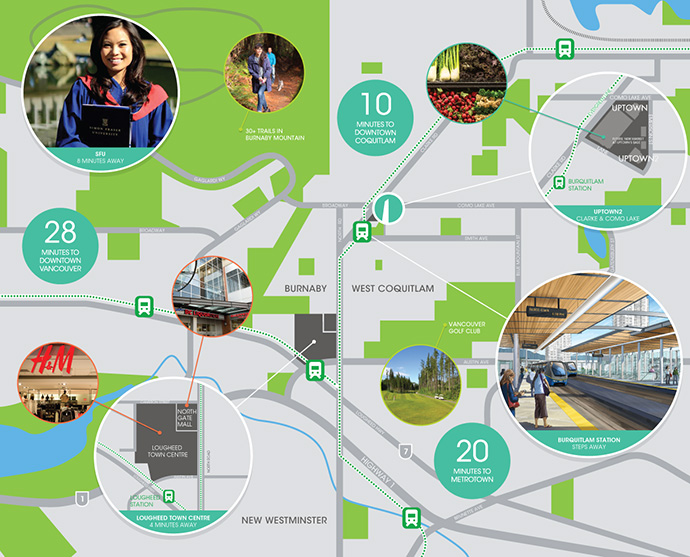 The West Coquitlam Burquitlam real estate district map.