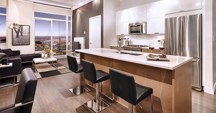 Entertainment kitchens at Vantage Burnaby condominiums.