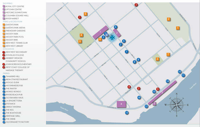 Great map of the Uptown New Westminster real estate district