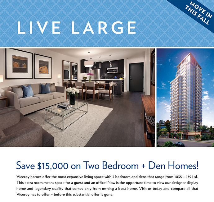 Save $15,000 on a new 2 bedroom plus den home at The Viceroy in New Westminster real estate market
