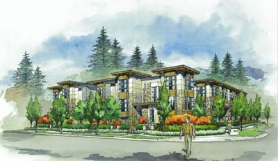The West Coast craftsman townhomes for sale at the Lynn Valley Vicinity family townhomes and are designed by Janet Marx.