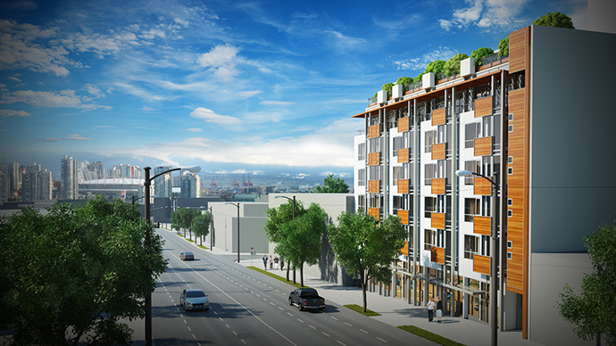 Rendering of the Kingsway and Broadway Vancouver VyaLiving Condos by PortLiving Developers.
