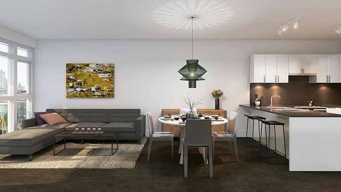 Beautiful interior colour schemes at the boutique Lower Lonsdale real estate development by Staburn Group developers.