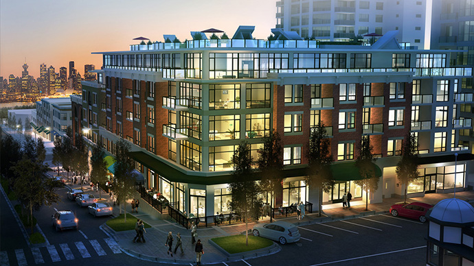 Rendering of the presale North Shore Wallace and McDowell Lower Lonsdale apartments.