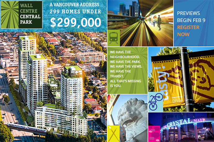 The presale Vancouver Wall Centre Central Park Condos in Collingwood neighbourhood.
