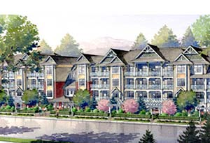 Rendering of the pre-construction West Condos at Cloverdale Village Walk property market that are now for sale