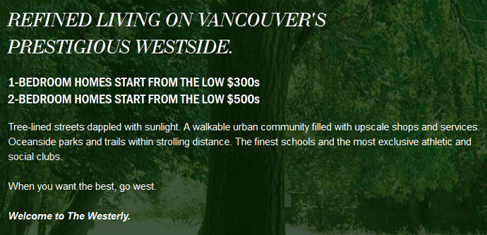 Description of the Westside Vancouver Westerley Apartments.