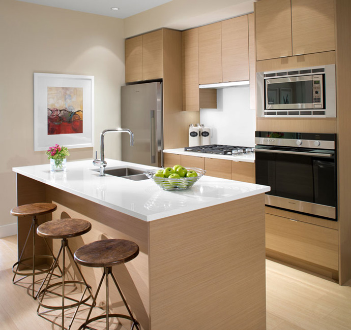 Beautifully designed Gannon Ross Designs kitchens at the Point Grey Vancouver luxury condos.