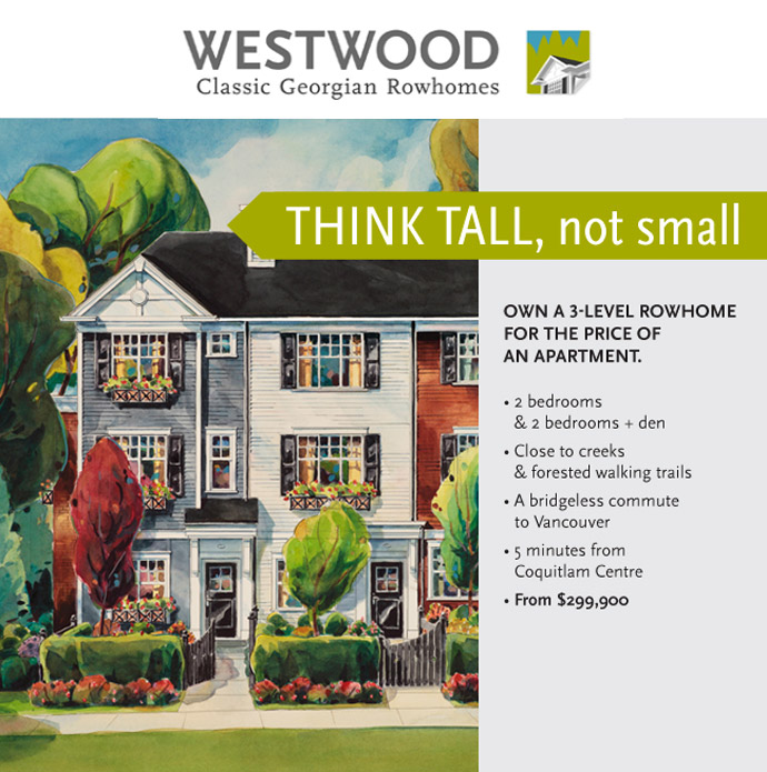 The new Coquitlam townhomes for sale at the WESTWOOD by MOSAIC Homes.