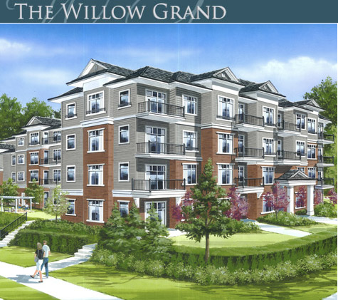 Artist interpretation of the new Willow Grand Surrey condo building.