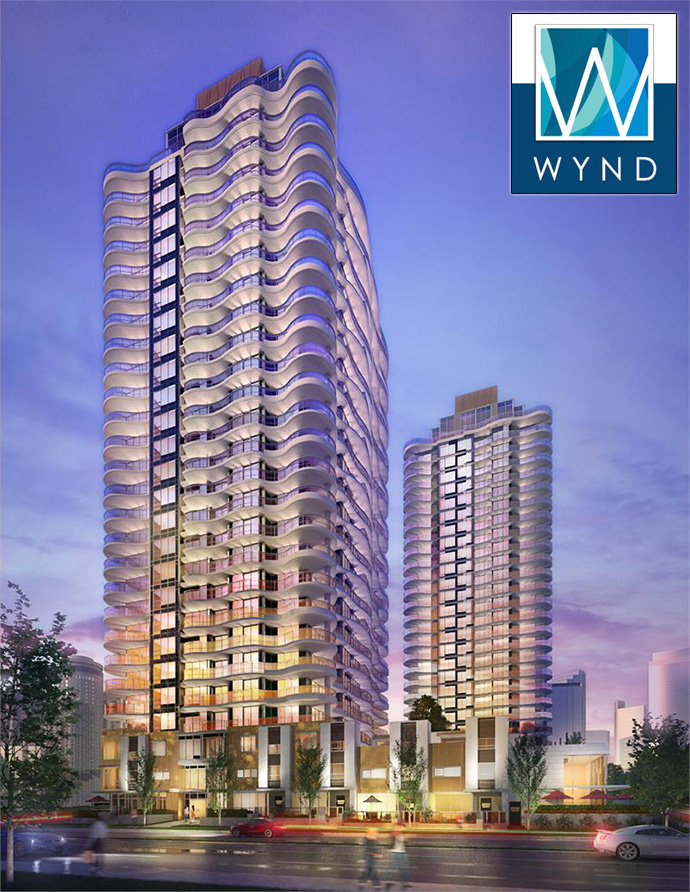 Presale Surrey WYND Condos by Rize Alliance - new high-rise rendering.