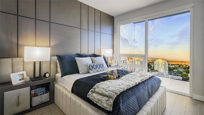 Beautiful views from The Paramount Richmond condo bedroom