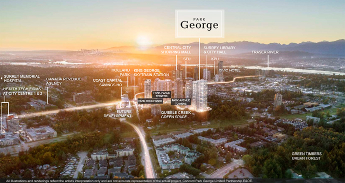 Park George condos is located in the centre of Surrey City Centre