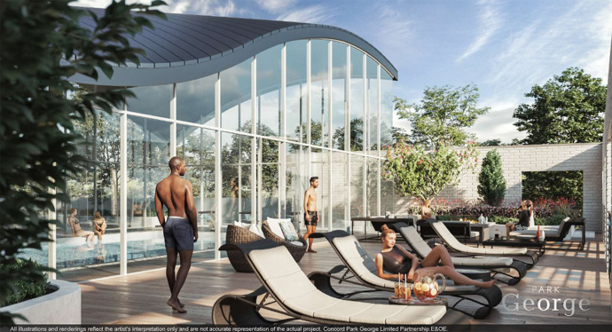 Park George Surrey outdoor amenity spaces and indoor pool
