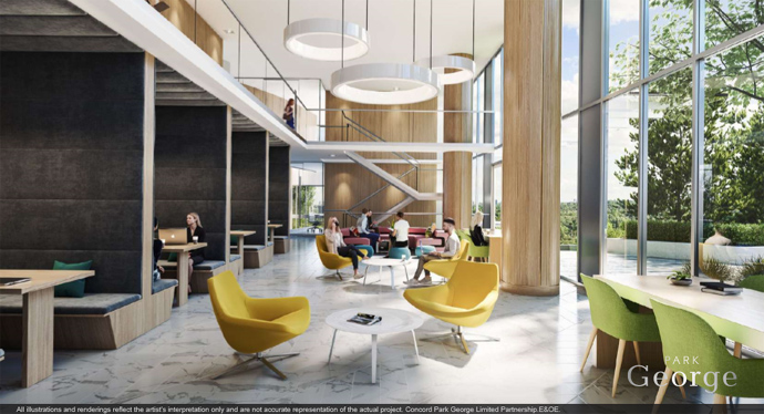 Park George Surrey condos features an incredible 24/7 work space and lounge